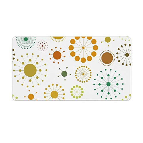 Extended Gaming Mouse Pad with Stitched Edges Waterproof Large Keyboard Mat Non-Slip Rubber Base Colorful Abstract Circles And Stars Desk Pad for Gamer Office Home 16x10 Inch