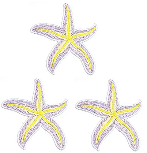 Umama Patch Set of 3 Purple Starfish Embroidered Iron On Applique Patch Starfish Ocean Sea Animal Cartoon Kids Patch Craft Decorative Repair Clothing Jeans T-Shirt Hat Backpacks