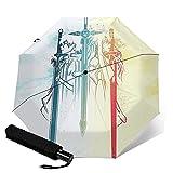 Sword Art Online Paraguas plegable automático portátil para mujeres y hombres reforzado a prueba de viento marco impermeable y resistente a los rayos UV