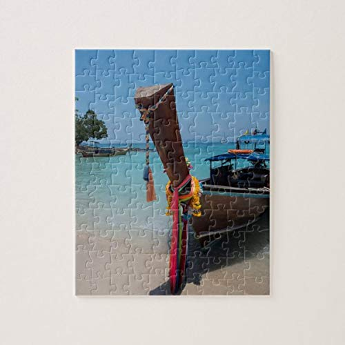 Traditional Thai Boat Jigsaw Puzzles 1000 Pieces, Challenging and Educational Puzzles Games Toys, Abstract Painting Puzzle for Kids Adults