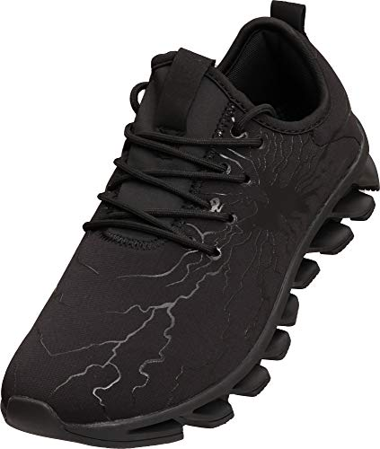 BRONAX All Black Tennis Hombres Shoes for Men Slip on Comfort Lightweight Breathable Best Running Walking Fitness Sports Gym Training Run Workout Sneakers Snickers for Male Size 9