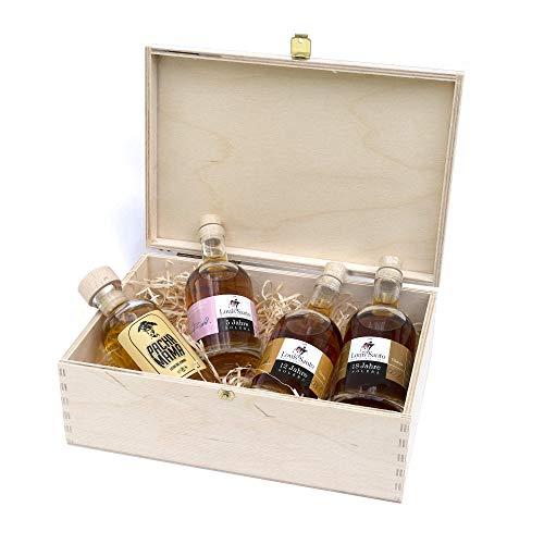 Premium Rum Tastingbox mit Louis Santo 5, 12 & 18 Jahre - nicht nachgesüßt - Pacha Mama Rumelixier - 4x100 ml für bis zu 5 Personen - ohne künstliche Aromen