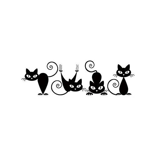 Sencillo Vida Pegatinas de Pared Gato Lindo Vinilo Adhesivo Decorativo Wall Stickers para Habitación de Niño Salón Dormitorio TV Fondo Inicio Cuartos