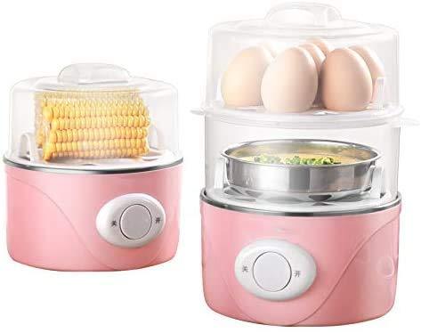 Thuis elektrische eierkoker Stroper Omelette Maker met automatische timer steamer - Inclusief maatbeker, roze QIANGQIANG (Color : Pink)