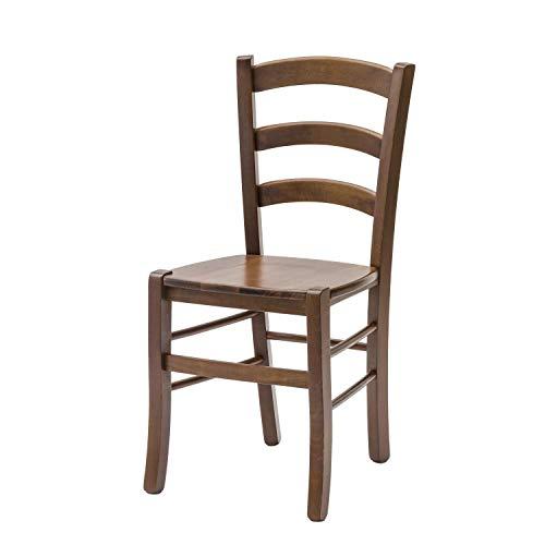 ARREDinITALY Juego de 2 sillas Olga en acabado nogal y asiento de madera