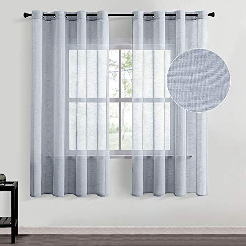 Topfinel Voile Gardine Ösenvorhang in Leinen-Optik Transparent Vorhänge Dekorativ für Zimmer Fensterschals Kinderzimmer 2er Set Grau 145/140cm (BxH)