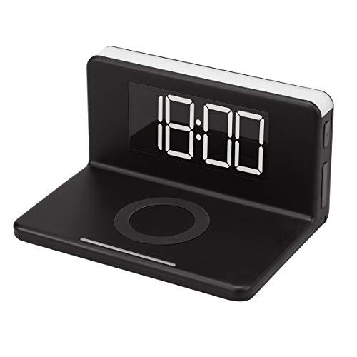 [リラックス] RELAX チャージャークロック ワイヤレス充電1USB出力 目覚まし時計 ナイトライト 置き時計 スマホ充電 (ブラック)