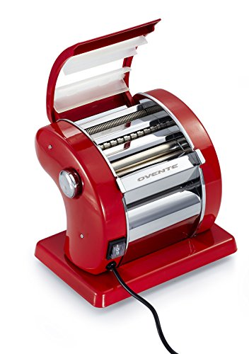 Ovente Revolutionary Electric Pasta Maker, 150mm, 90-Watts, 9 Thickness Settings, Stainless Steel, Metallic Red