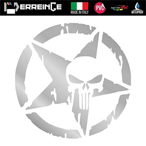 erreinge Sticker Punisher MILITÄRSTAR Army Silber PVC vorbeabstandete Aufkleber für Wall Decal Aufkleber Wall Car Motorrad Helm Camper Laptop - cm 35