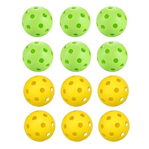 BESPORTBLE 12 Piezas de Bolas de Práctica de Golf Agujeros Huecos de Plástico Ligero Bolas de Entrenamiento de Golf Bolas de Juego de Golf Color Brillante