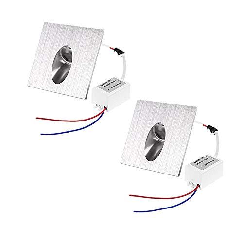 Pack de 2, onerbuy cuadrado empotrable LED paso escaleras luz lámpara de pared porche Pathway Spot Luz Zócalo Patio iluminación para esquina cubierta balcón 8*8*4.5cm/3.2*3.2*1.8inch Warm White