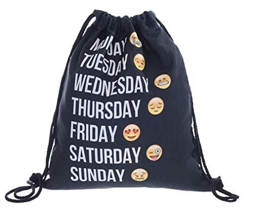Mochila DE Cuerdas Tipo Bolsa Emoji DIAS DE LA Semana (impresión 3D) Bolsa EMOTICONOS Mochila Emoji Week (Negra Week)