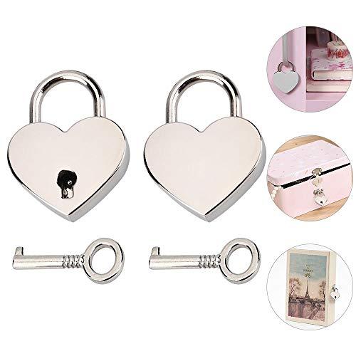 RMENOOR 2 Sätze Herz Liebe Vorhängeschloss Herzform Schloss Liebesschloss Herzschloss Mit Schlüssel für Gepäck Handtasche Tagebuch Valentinstag(Silber)
