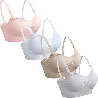GXXGE 4Pack Womens Seamless Clip Down Maternity and Nursing Bra Push Up Sleeping Bralette for Breastfeeding Underwear