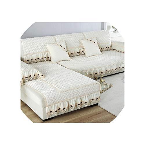 Dawn & Rose Europe Sofabezug für Wohnzimmer, aus Plüsch, Spitzendekoration, Ecksofa, Handtuch, Möbelschutz, cremefarben, Weiß, 1 Stück, 70 x 70 cm, 1 Stück