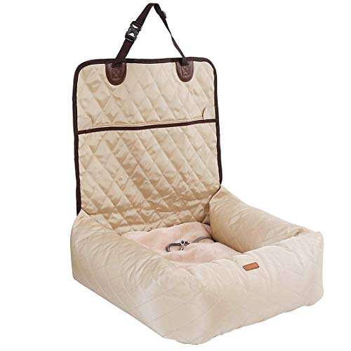 Gyj&mmm Lit pour Chien Car Seat Cover Car Pet Booster Seat 2 en 1 Façade Arrière Protecteur Pet Lookout Car Seat Portable Voyage,Beige