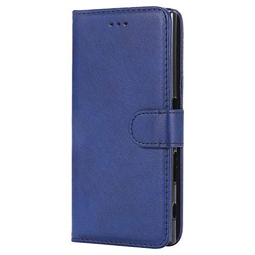 Bear Village® Hülle für Sony Xperia XZ/XZs, Flip Leder Handyhülle Tasche mit Kartensfach, TPU Innere Ledertasche, 360 Grad Voll Schutz, Blau