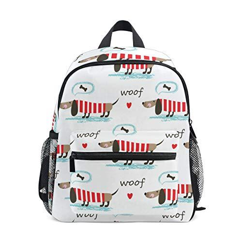 BALII Sausage Dog Puppy Toddler Backpack Book Bag School Rucksack for Girl Boy Children