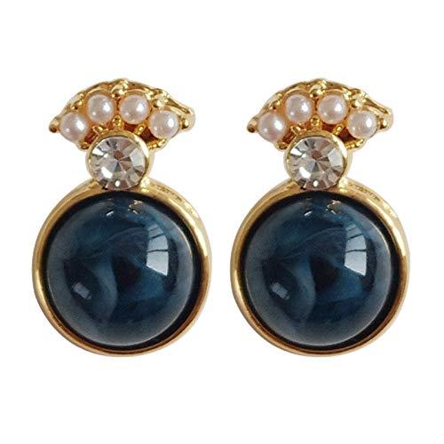 FEARRIN Pendientes Joyería de Moda Joyería DulcePendientes de ResinaRedondos SimplesAbanico Perlas pequeñas Pendientes de botón para Mujer Regalo de joyería Darkbluestud