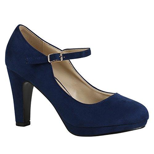 Damen Schuhe Pumps T-Strap High Heels Riemchenpumps Stilettos 157207 Dunkelblau Berkley 37 Flandell