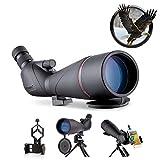 USCAMEL 20-60x80 Telescopio Terrestre,HD Prueba de Agua Prisma BAK4 Telescopios,Catalejo con Trípode、Clip de teléfono para Observación de Aves,el Tiro,la Caza