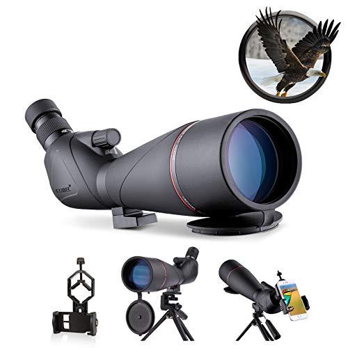 USCAMEL 20-60x80 Cannocchiale Professionale,HD La impermeabilità Prisma BAK4 Monocolo Professionale Potente,Cannocchiale portatil con Accessori smartphone per la fotografia,Treppiedi