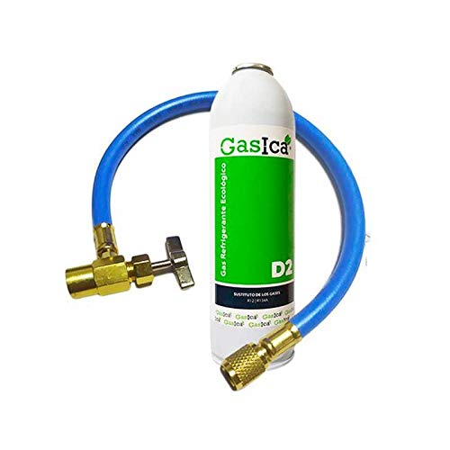 Desconocido Todoelectrico - Pack Gas refrigerante orgánico Gasica D2 Sustituto R134A, R12 y R22 + Manguera Recarga con Llave de Paso