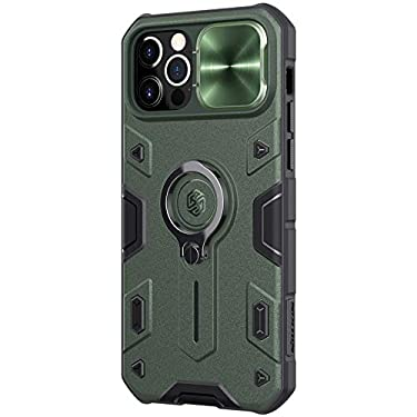 """Nillkin Case for Apple iPhone 12 / Apple iPhone 12 Pro (6.1"""" Inch) CamShield Armor Military Grade Camera Close & Open Double Layered Protection TPU + PC Finish with Kickstand Dark Green"""