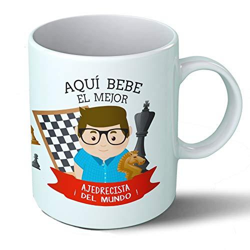 Planetacase Taza Desayuno Aquí Bebe el Mejor ajedrecista del Mundo Regalo Original Jugador ajedrez Deportes Ceramica 330 mL