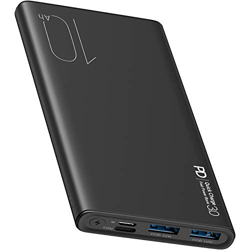 TOZO WB1 PD + QC 3.0 Portable Charger 10000mAh Super Slim and Light Fast Power Bank 18W High-Speed Charging External Battery Pack with USB C Input/Output for iPhone,iPad,Samsung, Black