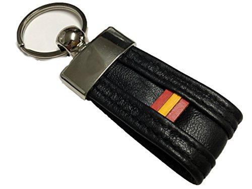 Yojan Piel - Llavero de Piel Bandera de España negro | Para Mantener las Llaves juntas | Llavero colgante de Metal y Cuero