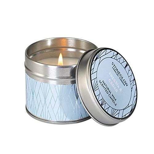 Stoneglow Candles Geometic Range Tin - Freesia & Cedar
