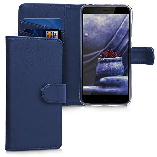 kwmobile Hülle kompatibel mit Xiaomi Redmi 4A - Kunstleder Wallet Hülle mit Kartenfächern Stand in Dunkelblau