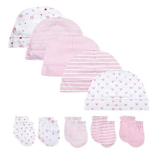 Baby-Mütze und Fäustlinge, Set für Neugeborene, 5 Mützen und 5 Paar Fäustlinge, für Babys, Jungen und Mädchen, 0–6 Monate, 100 {8a77a273ca4fde02c7b610ed7198374b9936fc4020c1d67df39efe41da7aa70b} Baumwolle Gr. 0-6 Monate, Set mit rosa Mütze und Fäustlingen.