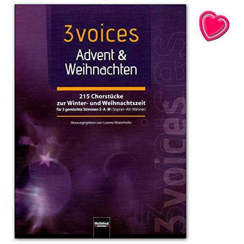 3De Voces–Advent Invierno–215Coro Canciones a la Navidad y tiempo de Navidad–Para Gem Coro (Sam) a cappella–Libro con Bunter herzförmiger–Partituras 9783850619325