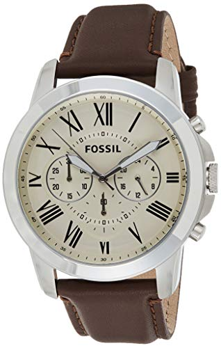 Fossil Men's Grant Quartz Leather Chronograph Watch, Color: Silver, Brown (Model: FS4735IE)