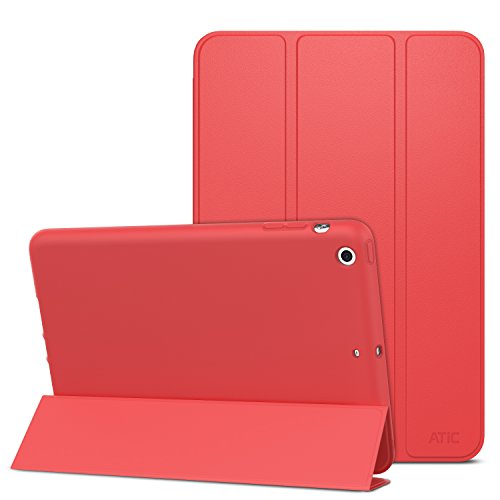 ATiC Case for iPad Mini 3 / 2 / 1, Slim Smart Stand Case with Soft TPU Back Cover Protector for Apple iPad Mini 1 (2012) /iPad Mini 2 (2013) / iPad Mini 3 (2014), RED (Not fit iPad Mini 4)
