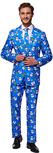 SUITMEISTER Blue Snowman Christmas Suit - Size M, Includes Matching Blazer Jacket, Pants & Tie |...