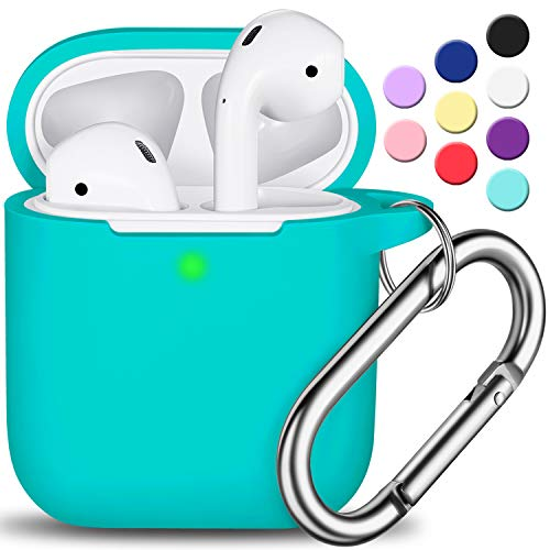 Airpods case cover with keychain, r-fun full protective silicone airpods accessories skin cover for women girl with apple airpods wireless charging case,front led visible-teal