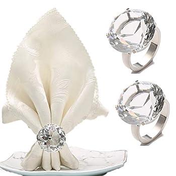 FKSWTV Big Diamond Napkin Ring Crystal Rhinestone Sparkle Bling Huge Napkin Holders Heavy Sturdy Wedding Decoration  Silver 6