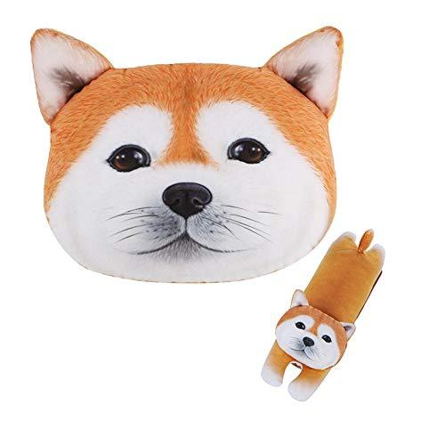 LONTA Car Neck Pillow with Auto Seat Belt Cover Seatbelt Shoulder Pad - Cute Cartoon Dog & Cat Head...
