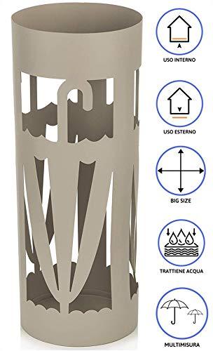 MONTEMAGGI Portaombrelli in Metallo Beige con Intagli a Forma di Ombrelli 21X21X55 cm