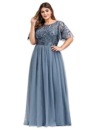 Ever-Pretty Damen Elegant Empire A-Linie Bodenlang Kurze Ärmel Tüll große Größe Abendkleider Staubige Marine 50