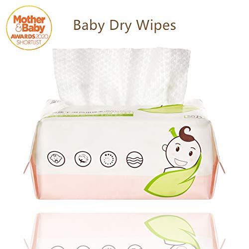 GothicBride Trockene Pflegetücher 100% Baumwolle Wischtuch Geruchsneutrales Cotton Abschminken Dry Wipes(50 Tücher)