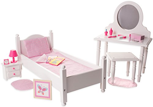 Playtime By Eimmie 18 Doll Furniture -Bedroom Bed Furniture Set- Bed Set - Bed and Vanity Set with Doll Accessories - Furniture Set Made for 18 Inch Dolls
