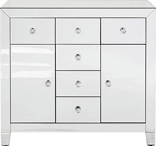 Kare Design Kommode Luxury 2-türig 6 Schübe, glamouröses Sideboard, Spiegelkonsole mit Funkelnden Griffen, verspiegeltes Schränkchen im extravagantem Design, (H/B/T) 84 x 88 x 41 cm, Silber