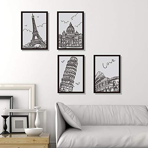 Muurstickers zelfklevende kamer woonkamer muur creatieve persoonlijkheid decoratie zwart en wit met de hand geschilderd architectonische fotolijst Pisa scheve toren Eiffeltoren