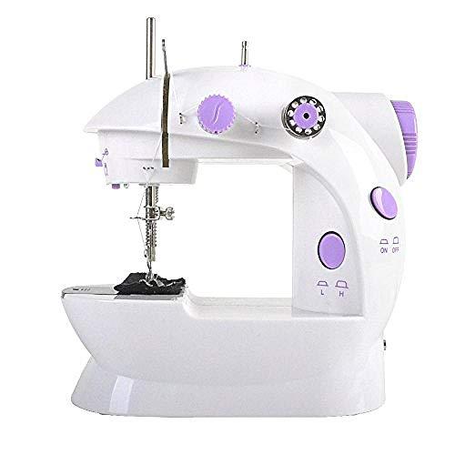 Yuaer Mini máquina de coser de aguja eléctrica de dos velocidades: alimentación/batería, para telas, ropa, telas para niños, viajes familiares (sin baterías)