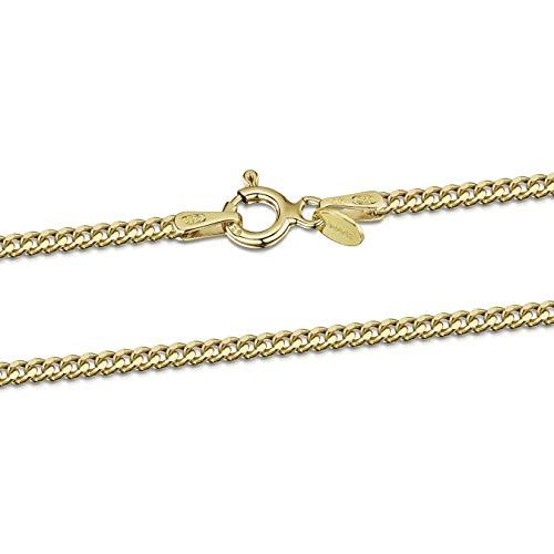 Amberta Joyería - Collar - Fina Plata De Ley 925-18K Chapado en Oro - Cadena de Frenar - 2 mm - 45 50 55 60 70 80 cm (50cm)