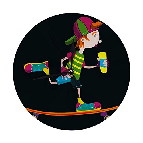 FETEAM Reloj de Pared sin tictac 9,8 Pulgadas Longboard Skater Teen Blackbackground...